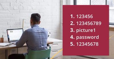 På fotot syns ryggen av en man som sitter framför sin laptop. Jämte mannen finns en röd ruta med listan över lösenord.