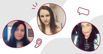 Vi ser de tre Bredband2-förebilderna Emma, Adina och Leonora omgivna av illustrationer av Bredband2:s öronlogga och pratbubblor.