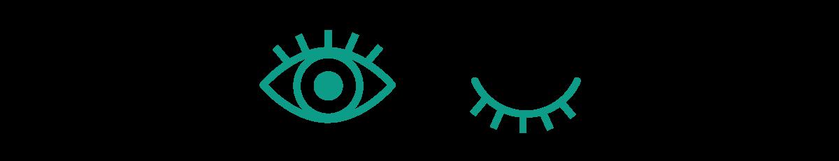 Illustrerade ögon, varav ett är öppet och ett är stängt.