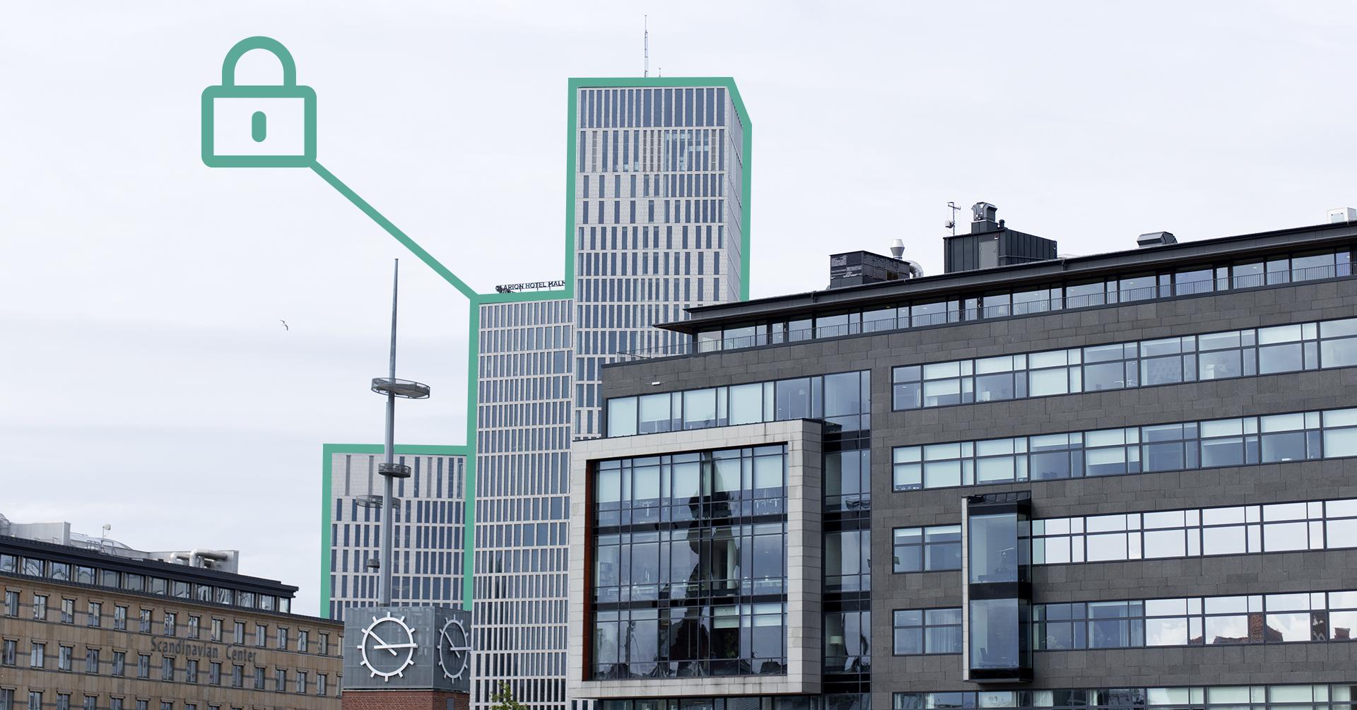 På bilden syns flera höghus. Fasaderna har många fönster och ett tecknat grönt hänglås som svävar i luften jämte.